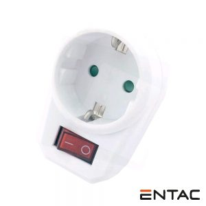 Tomada Elétrica c/ 1 Saída Interruptor Branco ENTAC - (EPAG-1EE-SW)