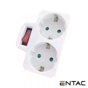 Tomada Elétrica C/ 2 Saídas Interruptor Branco ENTAC - (EPAG-2EE-SW)