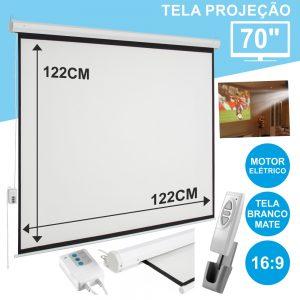 """Tela Projeção Elétrica Teto/Parede 70"""" 127x127cm 1:1 - (TPE70)"""