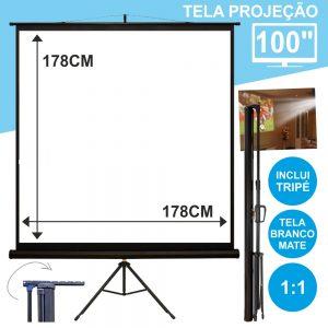 """Tela Projeção C/ Suporte Tripé 100"""" 178x178cm 1:1 - (TPM100)"""