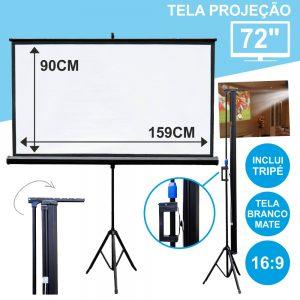"""Tela Projeção C/ Suporte Tripé 72"""" 159x90cm 16:9 - (TPM72)"""