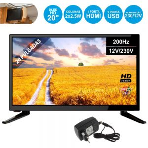 "TV LED 20"" HD 1 HDMI USB Dvb-T/C 2 Colunas 2.5W 12V 200Hz - (20L201)"
