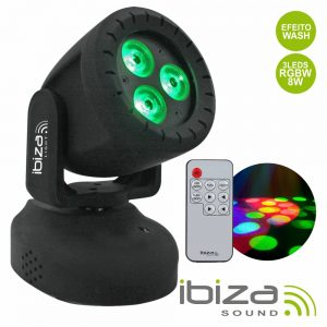 Moving Head Mini 3 LED 8W CREE RGBW 18W Mic IBIZA - (TWIRLY-WASH8)