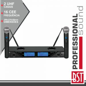 Central Microfone S/ Fios 2 Canais Uhf 16 Freq Cee BST - (UDR208)