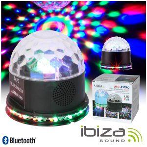 Projetor Luz C/ 3 LEDS 3W RGBAW Coluna 15W USB/BT/SD IBIZA - (UFO-ASTRO-BT-BL)
