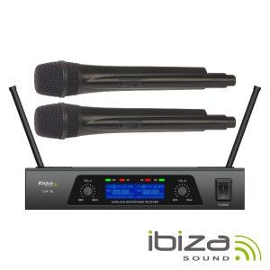 Central Microfone S/ Fios 2 Canais Uhf 863.9/864.9mhz IBIZA - (UHF20)