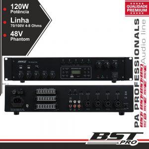 "Amplificador 19"" 4 Zonas Pa 100V 120W USB/SD/AM/FM BSTPRO - (UPA120TU)"
