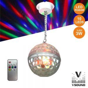 Bola De Espelhos 20cm C/ Motor 10 LEDS 3W RGBAW VSOUND - (VBE8ML)