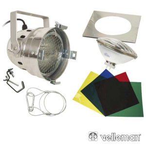 Projetor Curto PAR56 Cromado C/ 4 Filtros VELLEMAN - (VDLP56SCS)