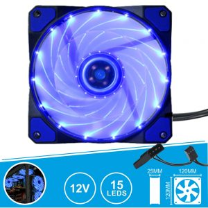Ventoinha 12V 120x120x25mm C/ 15 LEDS Azuis - (VENLED120B)