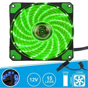 Ventoinha 12V 120x120x25mm C/ 15 LEDS Verde - (VENLED120G)