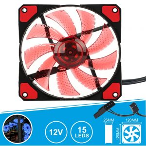 Ventoinha 12V 120x120x25mm C/ 15 LEDS Vermelhos - (VENLED120R)