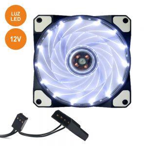 Ventoinha 12V 120x120x25mm C/ 15 LEDS Brancos - (VENLED120W)