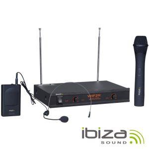 Central Microfone S/ Fios 2 Canais VHF 160/260MHz IBIZA - (VHF2H)
