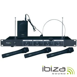 Central Microfone S/ Fios 4 Canais VHF 201.1/207.5MHz IBIZA - (VHF4)