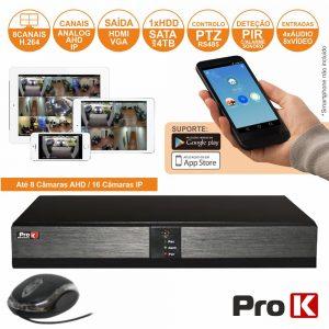 Vídeo-Gravador Digital 8 Canais Analog/Ahd/Ip Ethernet PROK - (DVR08VK)