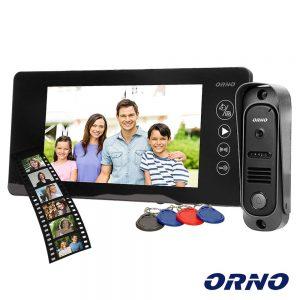 """Vídeo Porteiro C/ Lcd 7"""" Cores LEDS IR Preto ORNO - (OR-VID-JS-1053/B)"""