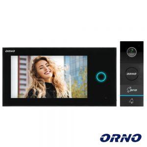 """Vídeo Porteiro C/ Lcd 7"""" Cores LEDS IR Preto ORNO - (OR-VID-WI-1068/B)"""
