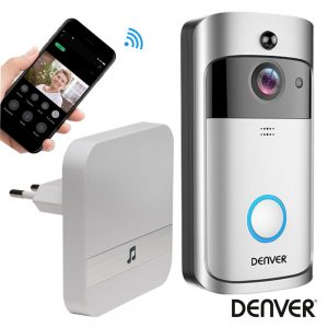 Vídeo Porteiro Wi-Fi C/ Alarme Sensor Pir 720p Ipx4 DENVER - (VDB-110)