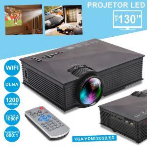Vídeo Projetor LEDS Wifi 2xUSB/Av/HDMI/VGA Comando 1200lm - (VPU46)
