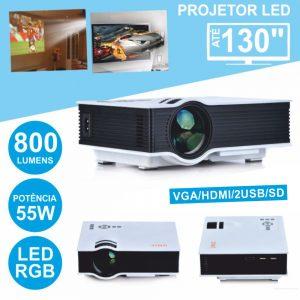 Vídeo Projetor LEDS RGB 220v USB/SD/HDMI Comando P/ Mesa - (VPU40PLUS)