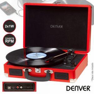 Gira-Discos 33/45/78RPM Vintage 2x1W Vermelho DENVER - (VPL-120RED)