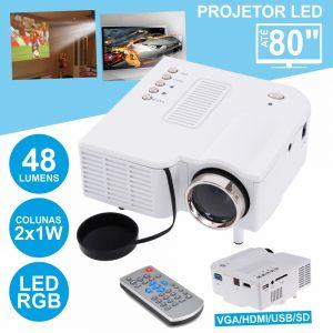Vídeo Projetor LEDS RGB USB/SD/HDMI Comando - (VPU28+)