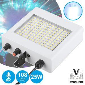 Barra De LEDS C/ Strobe 108 LEDS 5050 Brancos MIC VSOUND - (VSLEDB108A)