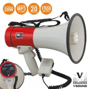 Megafone 20W C/ USB Mp3 Gravação Voz E Sirene VSOUND - (VSME20U)