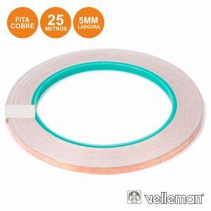 Fita Adesiva Em Cobre 5mm 25m VELLEMAN - (VTCFT1)