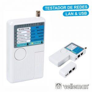 Testador De Cabos Rede Lan/USB USB-A USB-B Bnc RJ45 RJ10 - (VTLAN7)
