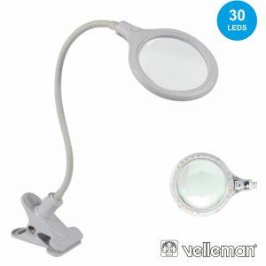 Candeeiro C/ Lupa Bancada 5 Dioptrias 30 LEDS 6W VELLEMAN - (VTLLAMP10N)