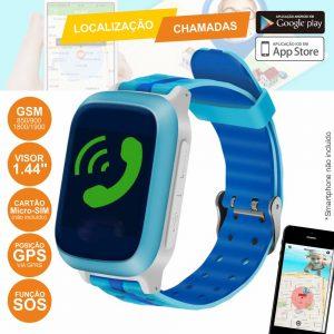 Relógio Segurança Azul Gps-Gprs Micro-Sim P/ Criança - (WATCHSOS06BL)