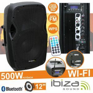 "Coluna Amplificada 12"" 500W Wifi Wps USB/BT/FM/SD IBIZA - (WIFI12A)"