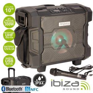 Sistema Som Portátil 300W USB/BT/NFC/FM/Bat Mic Ipx4 IBIZA - (WPORT10-300)