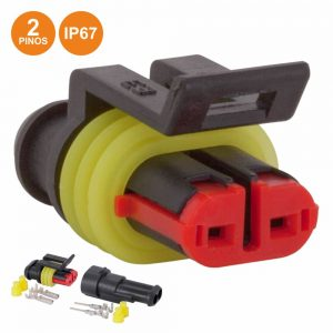 Ficha Automotiva Amp 2 Pinos Superseal 1.5 C/ Terminais IP67 - (WTWSS2X2)