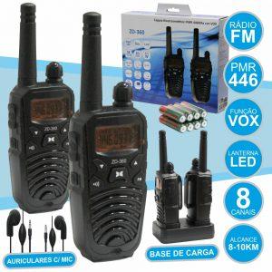 Intercomunicadores S/ Fios 8-10km 8 Canais Lanterna LED - (ZD-360)